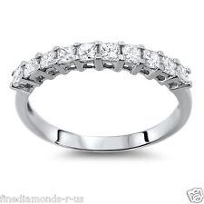 NEW RING 0.50 CT PRINCESS CUT DIAMONDS HALF ETERNITY WEDDING BAND IN PLATINUM