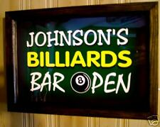 personalized BILLIARDS Lighted bar sign BAR OPEN