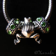 3PCs Frog Charm And Crystal Birthstone Beads For European Style Charm Bracelets