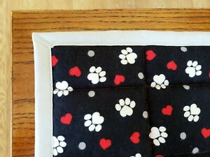 "SALE! ""PAWS & HEARTS"" 34ix42in TRIMMED FLANNEL PET MAT QUILT BLANKET/COMFORTER"