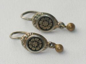 BIEDERMEIER Ohrringe EMAILLE Handarbeit um 1840 suuper DESIGN ausgefallen