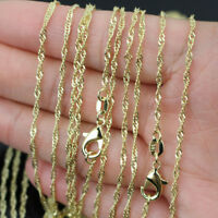 "10pcs 18K Gold Plated 2mm Water Wave Chain Necklace 16""-24"" Wholesale lots"
