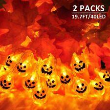 2 Pack Halloween Lights Outdoor 19.7Ft 40 Led Jack-O-Lantern String Lights