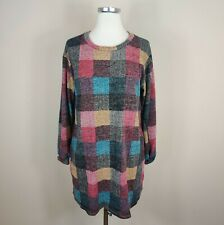 JODIFL Multicolor Plaid Tunic Top w/ Pockets Long Sleeve Stretchy Knit S Small