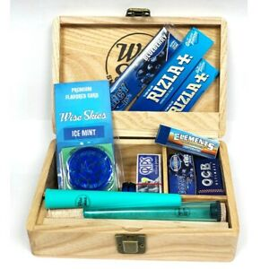 Wooden Smoking Box Set Medium   Rizla Blue Rolling Papers, Blue Grinder, Juicy J