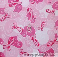 BonEful FABRIC FQ Cotton Quilt MINKY Pink White Breast Cancer Lady Swirl Ribbon