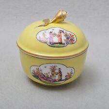 Meissen seletene Zuckerdose, Chinoiserien nach Höroldt auf gelben Fond, um 1850