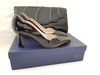 LADIES RENATA ITALIAN BLACK LEATHER SHOES & BAG WEDDING/ SPECIAL OCCASION 36