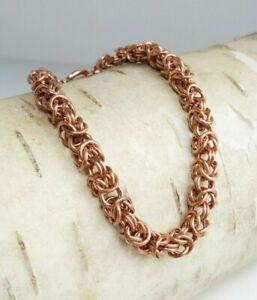 "8"" Handmade Bronze Byzantine Bracelet with Toggle Closure"