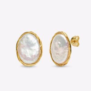 Handmade!9.7×14mm White Pearl Stud Earrings 14K Yellow Gold Filled,High Luster!