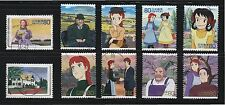 JAPAN 2008 CANADA JOINT ISSUE ANNE OF GREEN GABLES COMP. SET OF 10 STAMPS USED