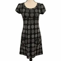 Enfocus Studio black a-line dress with gray polka dots, pockets, pleating, 4 EUC