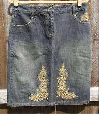 MAC & JAC BLUE COTTON DENIM GOLD EMBROIDERY CASUAL STRAIGHT KNEE SKIRT 8 NEW