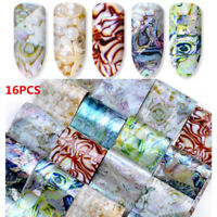 16 Sheets Gradient Marble Shell Design Nail Art Foils Transfer Sticker Decor DIY