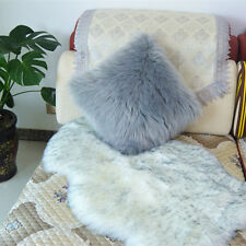 "1pcs Faux sheepskin Fur Square Gray Pillowcase Cushion 18""x18"" & fabric back US"