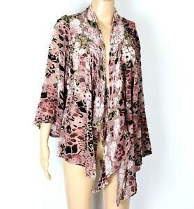 Pink Sheer Velvet Burnout Jacket Over Shirt TS size 14 Y2K Bell Angel Sleeve 90s