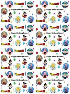 Dragon Ball Z Personalised Birthday Wrapping  Paper ADD NAME CHOOSE BACKGROUND