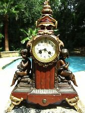 Antique French Marble Mantle Clock w/ Gold Gilding