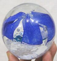 """Vintage Round Glass Paperweight Blue Floral Motif  3 1/4"""" in height 1970s"""