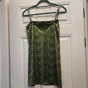 Urban Outfitters Dragon Print Sateen Twill Mini Dress Green M UK 10 New BNWOT