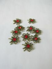 10pcs bronze colour 19mm alloy spider charms with 5mm red rhinestone craft UK