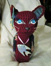 KITTY SNAIL DOLL ooak folk art crocheted plush soft crochet cat tri colored lake