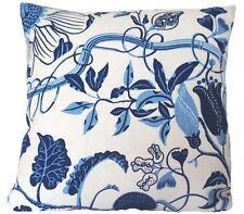 "Josef Frank Fabric Cushion Cover La Plata Blue Floral Linen Fabric Square 16x16"""