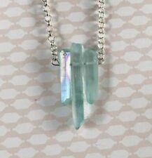 Druzy Rainbow Titanium Agate Pendant Necklace-New