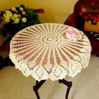Vintage Tablecloth Hand Crochet Cotton Doily Round Lace Table Cloth Cover 90cm