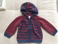 Gymboree Boy Blue Burgundy Hooded Sweater Size 18-24 Month
