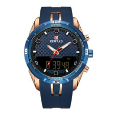 Men's Digital Analog Quartz Watches Luxury Silicone Band Blue&Rose gold Dial