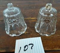 Set of 2 Votive Cups Homco Home Interior Crystal Clear Glass Tulip Design