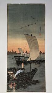 Antique Japanese Woodblock Print Sekiyado By Takahashi Hiroaiki Shotei