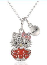 "HELLO KITTY ZODIAC CANCER Sterling 925 Pave Crystal Enamel Pendant Necklace 18""L"