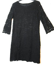BLACK LADIES FORMAL PARTY LACE SHIFT DRESS SIZE 12 ATMOSPHERE FULLY LINED