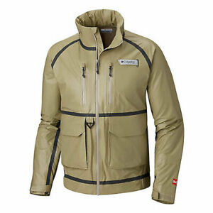 NWOT MENS COLUMBIA PFG FLYCASTER OUTDRY EX WADING JACKET $180 L Fossil Grey