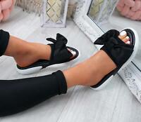 WOMENS LADIES CASUAL SLIDERS BOW FLAT SANDALS SLIP ON PEEP TOE SHOES UK Size
