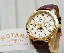 ROTARY Mens Watch Calendar DAY & DATE & MONTHS RRP £220 Boxed VGC (r30)