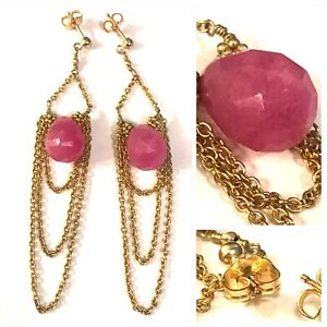 """Vintage 14K Gold Filled Faceted Pink Stone Layered Chain Earrings 3"""""""