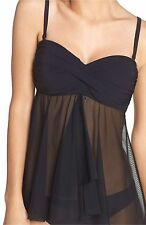 Profile By Gottex Women's Fly Away Tankini Top Color Black Size 10.