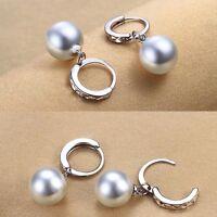 Women 925 Sterling Silver Freshwater Pearl Drop Dangle Fashion Earrings Jewelry