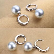 Women 925 Sterling Silver Freshwater Pearl Drop Dangle Fashion Earrings Jewelry