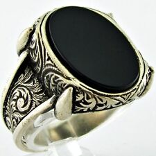 Bague Chevalière Homme Argent Massif 925 Serti Onyx Mens Silver Ring