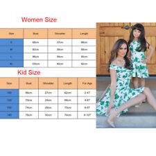 Women Mother Daughter Matching Maxi Dresses Summer Girl Floral Party Dresses