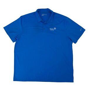 Nike Golf Dri Fit Polo Shirt Men's Size XXL Blue Quick Dry Johnson Controls Logo