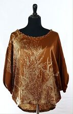 Ladies Blouse 100% Silk Chocolate 3/4 Sleeves Fits 8-14