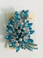 Turquoise Brooch Crystal Diamante Hijab Scarf Pin Party Wedding