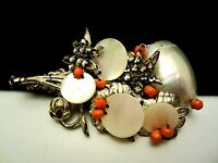 """Rare Vintage 2-1/2"""" Signed Miriam Haskell MOP Coral Glass Rhinestone Brooch Pin"""