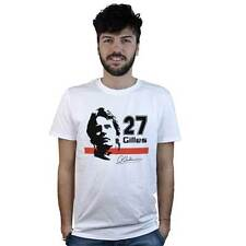 T-Shirt Gilles Villeneuve, maglietta bianca, immagine del campione di Formula 1