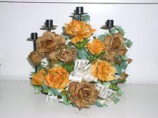 5 armiger Kerzenleuchter Bogen schwarz Metall Blumengesteck Seidenblumen Deco C